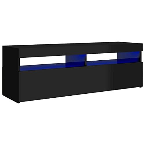vidaXL Mueble para TV con Luces LED Soporte Armario Aparador Estante Salón Sala de Estar Decoración Entretenimiento Negro Brillante 120x35x40 cm