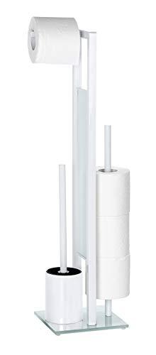 WENKO Stand WC-Garnitur Rivalta Weiß - WC-Bürstenhalter, Stahl, 18 x 70 x 23 cm, Weiß