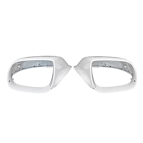 FZHENG Coche retrovisor espejo cubierta lateral espejo shell ajuste para Q5 2009-2018 Q7 2010-2015 8R0857527 8R0857528 Sin agujero auxiliar (Color : White)