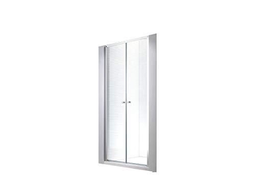 Wagner [75-140cm] Cabina de ducha en nicho en aluminio y vidrio con puerta batiente - Puerta nicho de Cabina de ducha (115x195cm)