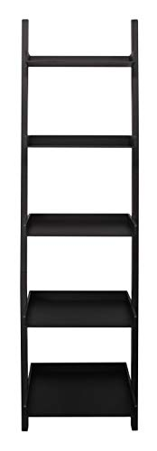 Kiera Grace Modern 5-Tier Wood Ladder Bookshelf, Black