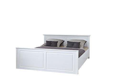 Inter Link Landhausbett Doppelbett Ehebett 160x200 FSC Kiefer Massivholz Weiß lackiert