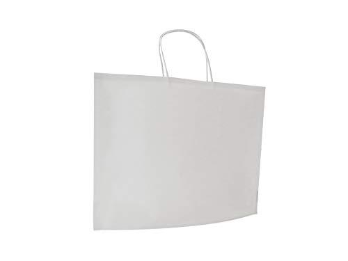 Carte Dozio – Bolsa de asas, color blanco, asa retorcida, 36 + 10 x 27 + 1 cm, paquete de 25 unidades