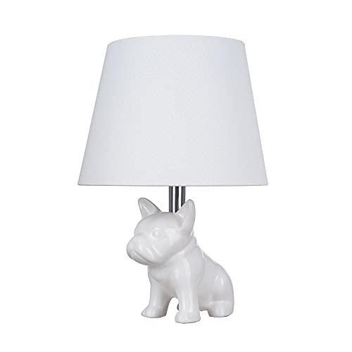 Catalina Lighting 23109-001 Whimsical Ceramic French Bulldog Table Lamp, 15.5', White