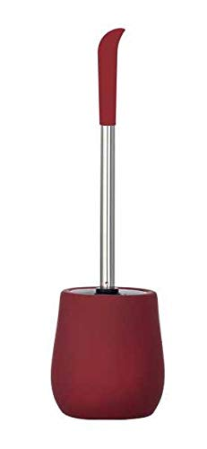 WENKO DIE BESSERE IDEE Porte Brosse WC céramique Soft Touch, Brosse WC Silicone, Sydney Rouge foncé Mat