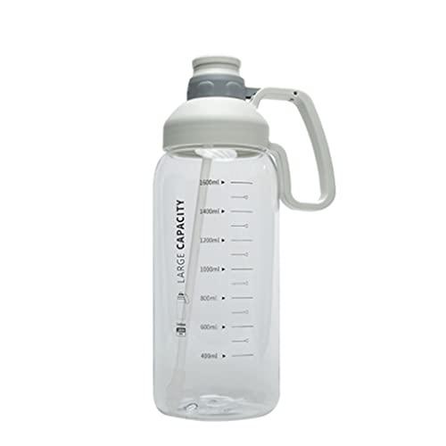 Borraccia da 60 ml con cannuccia e righello in scala, senza BPA, antiscivolo e non perdite per fitness, palestra e sport all'aria aperta (colore: bianco)