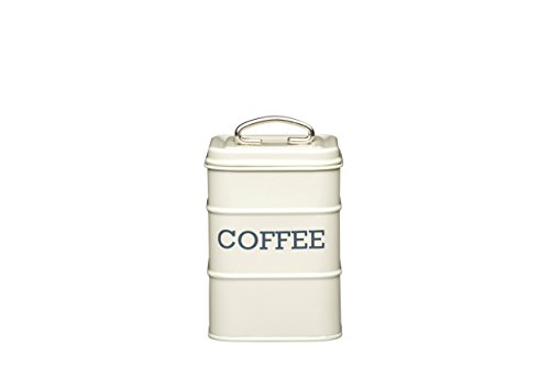 KitchenCraft LNCOFFEECRE Living Nostalgia Metall Tee Caddy, 11x 17cm Kaffeebehälter Antik-Cremeweiß, 11cm x 17cm