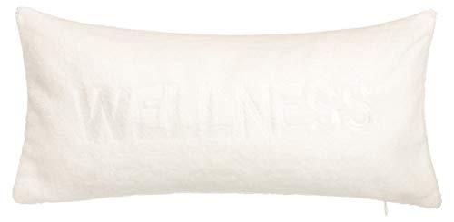 brandseller Badewannenkissenn Nackenkissen mit Saugnäpfen als Reisekissen oder Wannenkissen aus weichem Microfaser Kissen für Badewanne Aufschrift Wellness Weiss ca 40 x 20 cm (40 x 20cm, Creme)