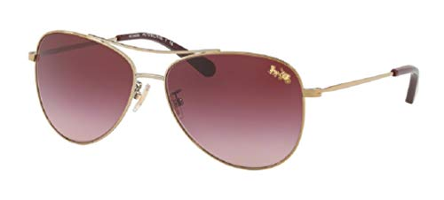 Coach HC7079 93228H 58M Light Gold/Burgundy Gradient Aviator Sunglasses For Women+FREE Complimentary Eyewear Care Kit