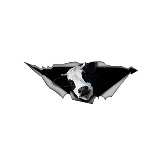 MDGCYDR Pegatinas Coche Personalizadas 26 Cm X 10 Cm Pegatina De Coche Vaca 3D Metal Rasgado Accesorios De Animales Salvajes Motocicleta Impermeable Coche Ventana Pegatina PVC