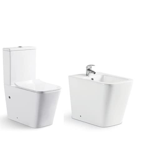 KIT Inodoro adosado a pared+ Bidé a juego Modelo CUBE, fabricados en porcelana blanca esmaltada. El Pack incluye Bidé a juego. Inodoro completo con cisterna y tapa amortiguada