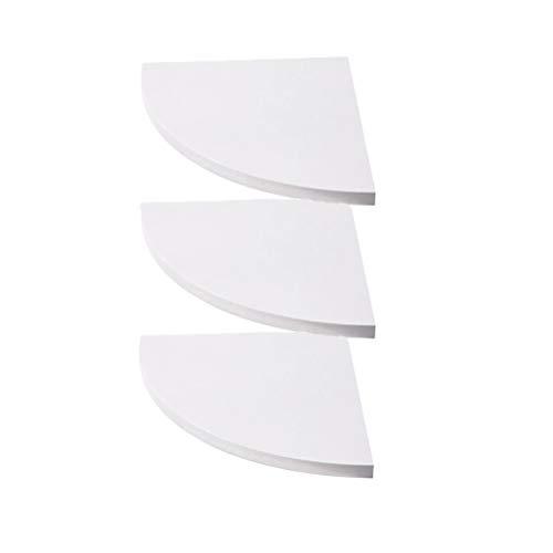 Garneck Scaffale angolare da parete in legno, bianco, 3 pezzi, galleggiante ad angolo, per casa, cucina, camera da letto, decorazione