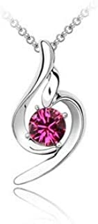 Mysmar Women's Silver Plated Titanium Pink Austrian Crystal Jewelry Set [MM106P]