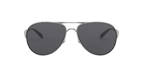 Oakley Women's OO4054 Caveat Aviator Sunglasses, Polished Chrome/Grey, 60 mm