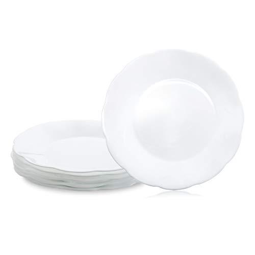 Opal Tempered Glass Dinner Plates Set of 6, Salad Plates Dessert Plates Set (White, 8')