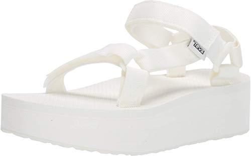 Teva Women's Flatform Universal Platform Sandal, Bright White, 5 M US