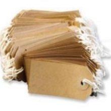 Kofferanhänger mit Schnur - Kofferetikette aus Manila-Papier - Gelbbraun - 96mm x 48mm - 200 Stück