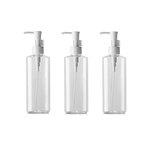Lot de 3 flacons à pompe vides rechargeables en plastique transparent de 100 ml pour maquillage, lotion, shampooing, transparent, 100ml/3.4oz, Tendance