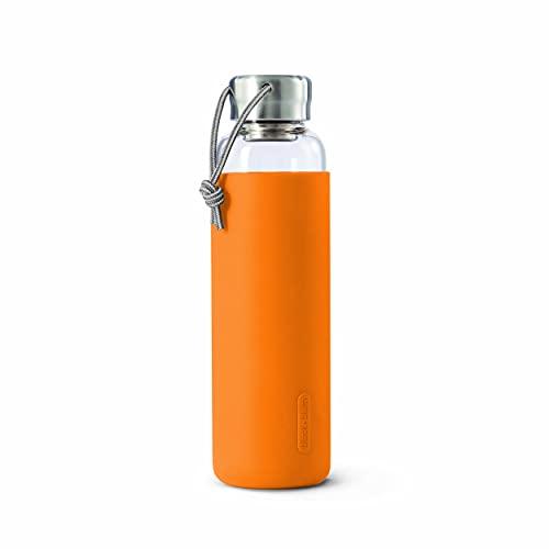 Black+Blum - Botella de agua de viaje con funda protectora, antigoteo, 600 ml, color naranja