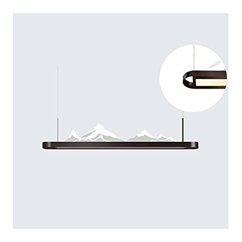 Lámpara de Restaurante Elegante China, lámpara de luz del Iceberg de acrílico Simple, lámpara de Techo Colgante 3D, luz del Paisaje Zen (Color : Brown, Type : 36.2'+24W+17W)