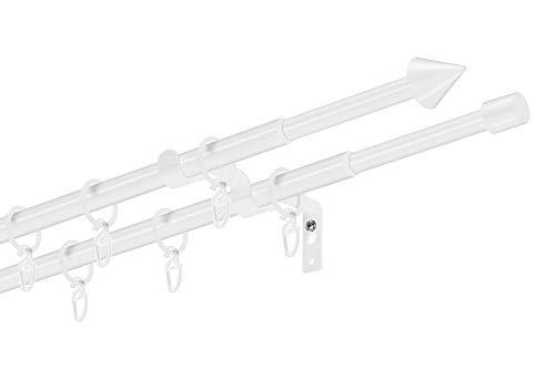 Dekobase Ausziehbare Gardinenstange, Stilgarnitur Siri komplett Set zum sofortigen Montieren, 13/16 mm Ø, Weiß 2-lauf, 120-220 cm