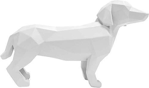 Present Time - Statue Teckel Blanc Origami