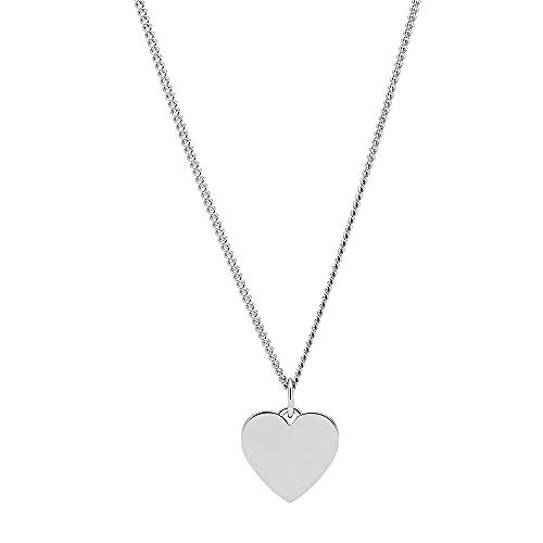 Fossil Damen Halskette aus Silber mit Anhänger aus Edelstahl, JF03330040