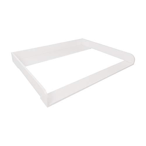 Puckdaddy Wickelaufsatz Sören – 108x80x10 cm, Wickelauflage aus Holz in Weiß, hochwertiger Wickeltischaufsatz passend für IKEA Hemnes Kommoden, inkl. Montagematerial zur Wandbefestigung