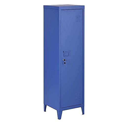 Bakaji Armadietto Armadio da Spogliatoio Mobile Mobiletto in Metallo Chiusura Anta con Chiusura a Chiave 3 Ripiani Interni Dimensioni 138 x 38,5 x 38,5 cm Design Moderno industriale (Blue)