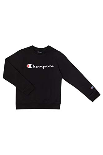 Champion Unisex Heritage Boy and Girls Fleece Pullover Scipt Sweatshirt (Large, Heritage Black)