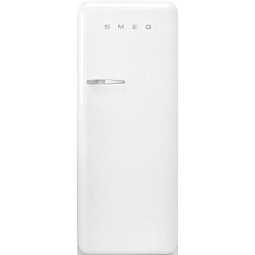 Smeg FAB28 50's Retro Style Aesthetic Top Freezer Refrigerator with 9.92 Cu Total Capacity, Multiflow Cooling System, Adjustable Glass Shelves 24-Inches, White Right Hand Hinge