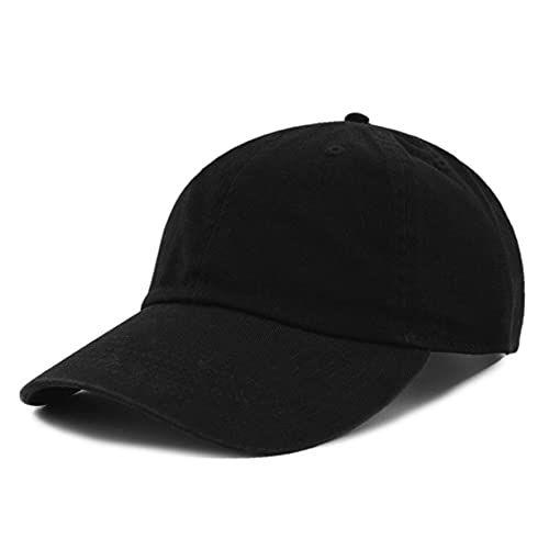 The Hat Depot 300N Washed Low Profile Cotton and Denim Baseball Cap (Solid Black)