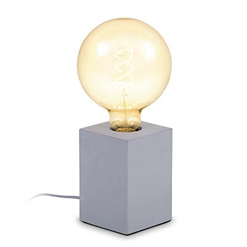 B.K.Licht I lámpara de mesa de hormigón cuadrada I 9x9x13 cm I enchufe E27 I interruptor de cable I gris I sin bombilla