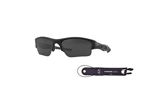 Oakley Flak Jacket XLJ OO9009 11-004 63MM Matte Black/Grey Rectangle Sunglasses for Men + BUNDLE with Oakley Accessory Leash Kit