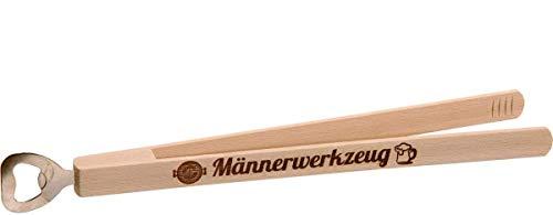 KMC Austria Design Grillzange mit Flaschenöffner · Grillwerkzeug · Grillzubehör · Hochwertiger Brandstempel Männerwerkzeug · Geschenke für Männer · Kombi-Grillzange aus Holz