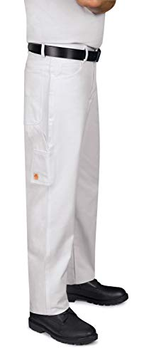 Red Kap Men's Dungaree Painter Pants, White, 34W x 32L