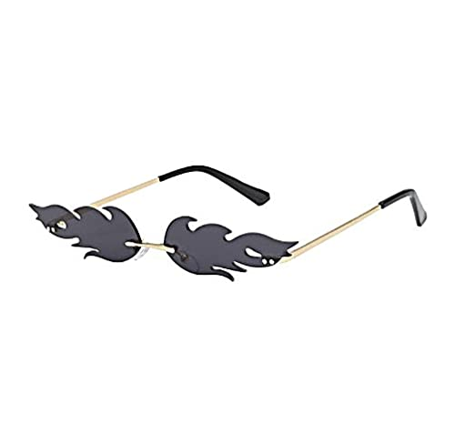 Gafas de sol unisex con diseño de ojo de gato, estilo retro, sin marco, con llama, lentes estrechas, color negro, talla mostrada)