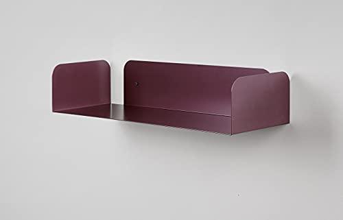 Mensola in metallo da muro colorata bordeaux D-Segno home office, 100% made in Italy, design minimal, ottime in ogni contesto 100% made in Italy, design minimal, ottime in ogni contesto