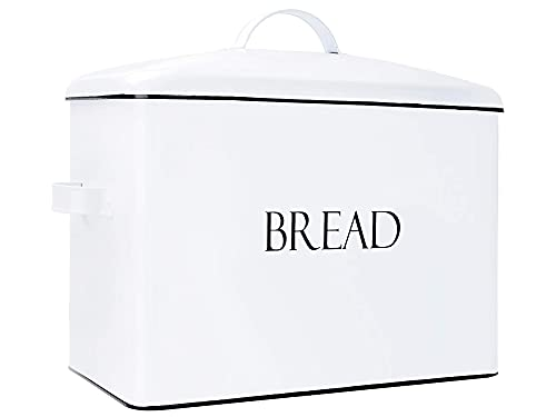 Outshine Extra Large Bread Box White | Countertop Space-Saving Vintage Metal Bread Bin | High Capacity Bread Storage - Holds 2+ Loaves | Farmhouse Bread Box for Kitchen Countertop | Housewarming Gift