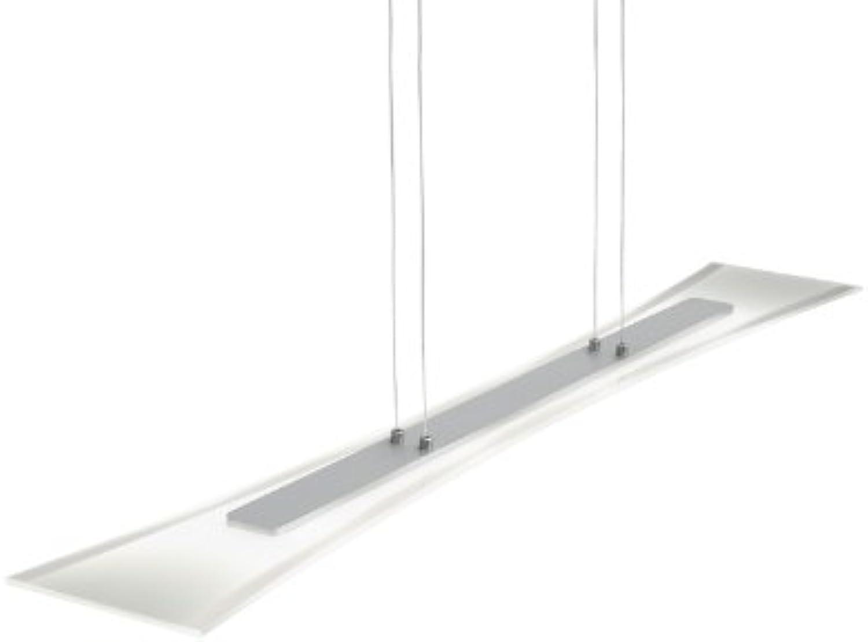 Trio-Leuchten LED-Pendelleuchte Aluminium gebürstet, Glas wei satiniert Rand klar, inklusiv 4x 5W LED, Breite  100 cm, Hhe  120 cm 322510406