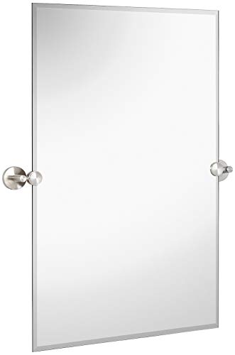 Hamilton Hills Large Pivot Rectangle Mirror with Brushed Chrome Wall Anchors | -