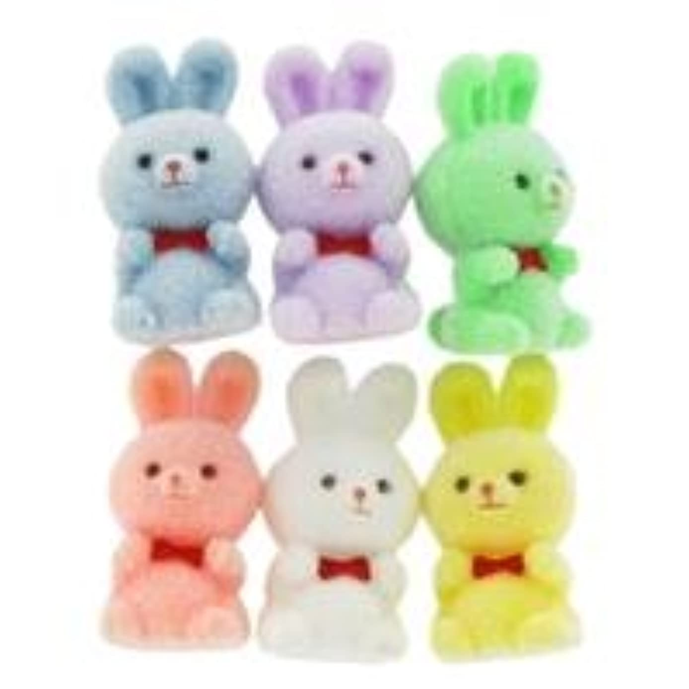 Pastel Miniature Flocked Bunnies with Curled Ears From TheCraftyCrocodile