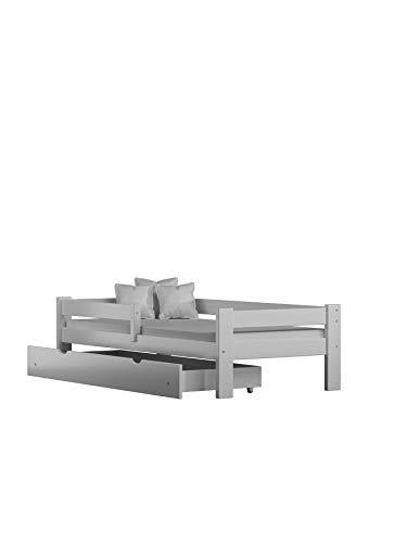 Children's Beds Home Letto Singolo in Legno massello - Salice con cassetti e Materasso in Schiuma Incluso (160x80, Bianco)