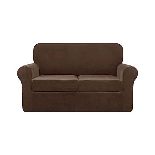 LPWCAWL Cubierta Universal del sofá, Cubiertas de sofá de Color sólido, Funda para sillones para 2 Asientos de Terciopelo Antideslizante,Dark Coffee