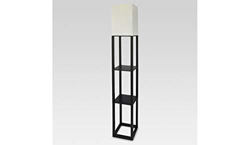 Threshold Shelf Floor Lamp with White Shade - Black