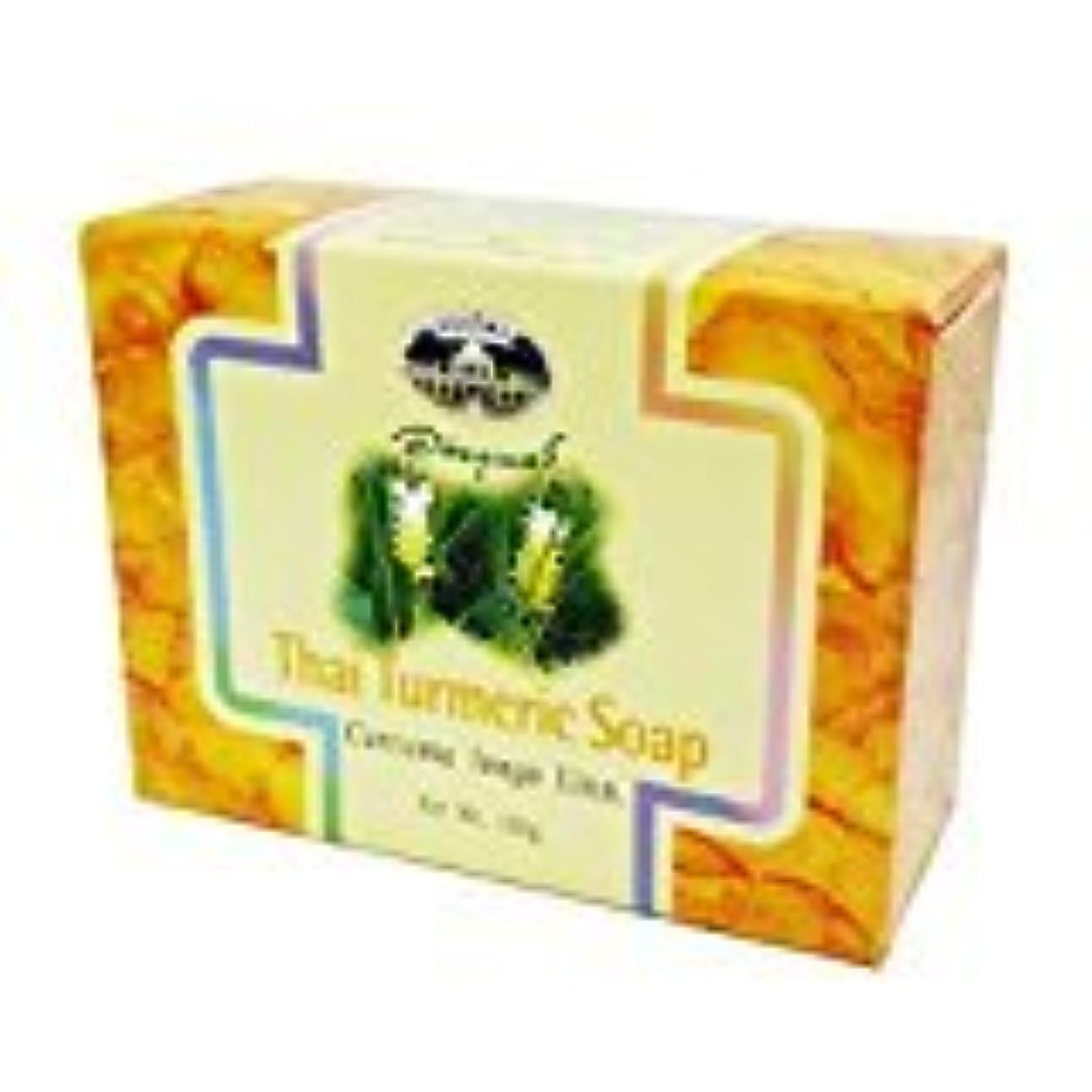 木製少ないカニウコン石けん abhaibhubejhr Turmeric soap 100g