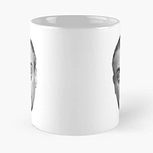White Comedian Portrait Dangerfield and Funny Rodney Black - Taza de café de cerámica de mármol blanco I