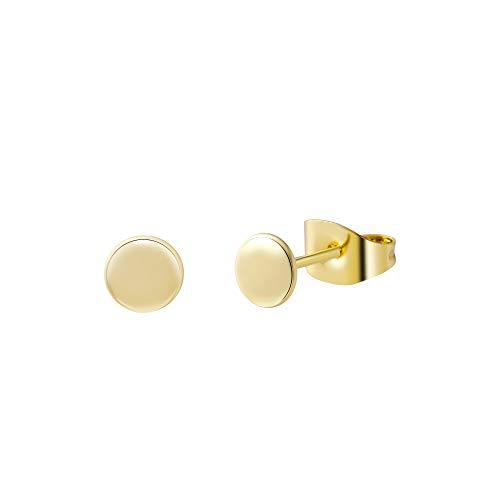 Tasiso Tiny Round Dot Stud Earrings 14K Gold Plated Dainty Handmade Cartilage Tragus Helix Ear Piercing Earrings Jewelry for Women (5MM)