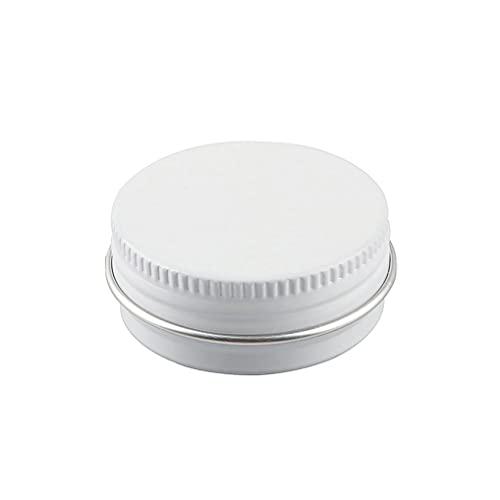 ZEOABSY30 PezziBarattoli di alluminio 15ml a Vite BiancaScatola in Alluminio Forma Rotondo, Vasetti per DIY Candele Cosmetico Caramella Gadget Balsamo Labbra,2xEtichette e 5x Spatola