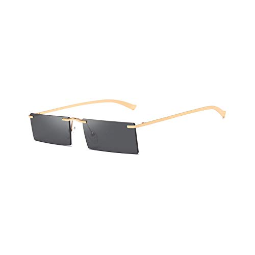 Vikimen Sportbrillen, Angeln Golfbrille,Red Rectangle Sunglasses For Men Rimless NEW Square Sun Glasses For Women Retro Uv400 Gold Green Yellow as show in photo gold with green